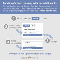 Want to make sure you see all the status updates from the facebook pages you like?  Here's how!