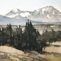 """North and Middle by Joseph Alleman Watercolor ~ 5"""" x 5"""""""