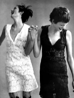 Stella Tennant and Kristen McMenamy in Helmut Lang shot by Steven Meisel for US VOGUE January 1996 | Grace Coddington.