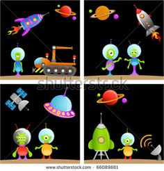 stock vector : alien cartoon set