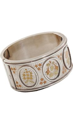 Olivia Collings Antique Jewelry - Silver & Gold Floral Overlay Bangle discovered on Fantasy Shopper Antique Earrings, Antique Jewelry, Silver Jewelry, Mädchen In Bikinis, Have Courage And Be Kind, I Love Jewelry, Antique Silver, Jewelery, Bangles