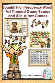Set of 10 game boards with the high frequency words written on them and 7 open-ended boards. Also a set set of ten boards, perfect for dual language, bilingual or Spanish inmersion classes. Bilingual Classroom, Bilingual Education, Classroom Language, Spanish Classroom, Teaching Activities, Classroom Activities, Teaching Ideas, Elementary Spanish, Teaching Spanish