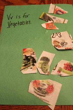 V is for vegetables cutting and pasting craft idea