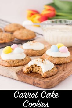 These carrot cake cookies are soft and tender, perfectly spiced, and topped with a heavenly cream cheese frosting. They taste like your favorite carrot cake but in an easy-to-serve and easy-to-make cookie! #carrotcakecookies #creamcheesefrosting #cadburyminieggs Cookie Dough Recipes, Baking Recipes, Dessert Recipes, Bar Recipes, Diet Recipes, Carrot Cake Sandwich Cookies, Mini Carrot Cake, Easy To Make Cookies, Recipes