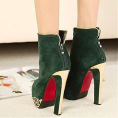 Womens Boots | Lovely Suede Green Zipper Round Closed Toe Stiletto Super High Heel Boots - Hugshoes.com