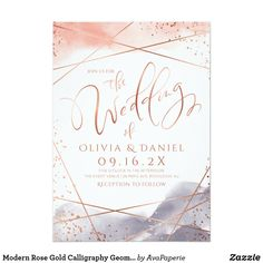 Modern Rose Gold Calligraphy Geometric wedding Invitation Modern handwriting wedding script and glam faux rose gold glitter geometric lines on pastel blush and dusty blue watercolor background, Modern Elegant Wedding Invitations, Wedding Invitation Wording, Event Invitations, Wedding Stationery, Foil Stamped Wedding Invitations, Invitation Templates, Invites, Gold Calligraphy, Wedding Calligraphy