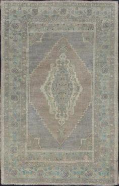 """KEIVAN WOVEN ARTS,   Type :Oushak Origin :Turkey  Size : 5'5""""x8'9""""  Circa :1950"""