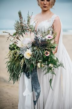 King protea bridal bouquet with grey silk ribbons | Meredith Lord