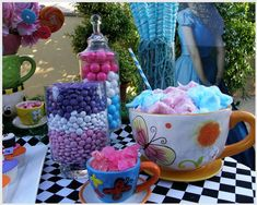 Alice in Wonderland Party Dessert Table and Cotton Candy