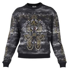 Black Cotton Embroidered Sweatshirt Top