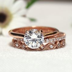 Rose Gold Solitaire Engagement Ring and Wedding Rings | Joseph Jewelry | Bellevue | Seattle | Online | Design Your Own Ring