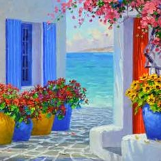 Paint Night at Taxiarchae/Archangels Greek Orthodox Church in Watertown MA Malen Sie Nacht bei Taxiarchae / Archangels Greek Orthodox Church in Watertown MA It's All Greek to me Greece Painting, Simple Acrylic Paintings, Pictures To Paint, Beautiful Paintings, Painting Inspiration, Painting & Drawing, Watercolor Paintings, Oil Paintings, Mykonos