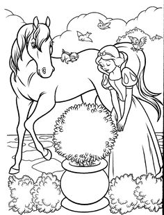Snow White & Horse Disney Coloring Book Page