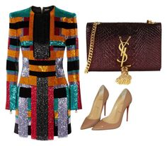 """""""Untitled #1109"""" by styleflicks on Polyvore featuring Balmain, Christian Louboutin and Yves Saint Laurent"""
