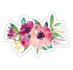Watercolor Wild Flower Pink Bouquet • Also buy this artwork on stickers, apparel, kids clothes, and more.