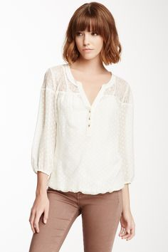 Love everything about this! The neck line, the Swiss dots.  So feminine.   Daniel Rainn Lace Trim Swiss Dot Blouse