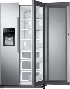 Samsung - 24.7 Cu. Ft. Food ShowCase Side-by-Side Refrigerator with Thru-the-Door Ice and Water - Stainless steel (Silver)