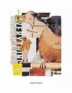 my day 338 collage (teasers) :: scrap images from misc magazines, torn dictionary page, text; cut + pasted. #collage #collageaday #design #papercollage