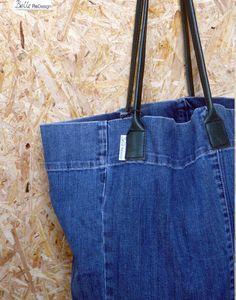 Spijkertas m- spijkerbroek & groen leer van BelleReDesign op DaWanda.com