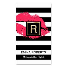 Makeup & Hair Stylist Red Lips Modern Stripes Double-Sided Standard Business Cards (Pack Of 100) Más
