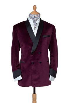Velvet smoking jacket with silk facing & pocket detailing