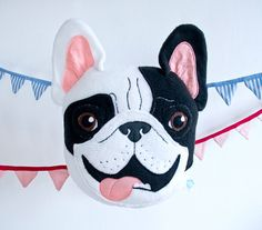 This item is ready to ship!    Plush pillow very carefully embroidered and finished by hand. Pillow is in the shape of a smiling black and white Frenchies