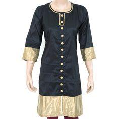 Indian Ethnic Black Semi Raw Silk Ladies Top / Kurti / Kurta - Brocade Patchwork - Women's Dress - All Sizes 903831 by theaonline on Etsy