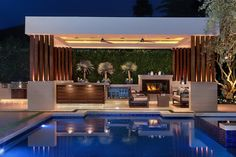 Creative Ideas for Outdoor Patio Seating Arrangements - It is the heartiest wish of every house maker to have a well-arranged outdoor seating space on his - Backyard Pool Landscaping, Backyard Pool Designs, Swimming Pools Backyard, Modern Outdoor Kitchen, Modern Patio, Covered Outdoor Kitchens, Modern Pergola Designs, Modern Backyard Design, Modern Gazebo