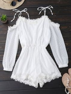 GET $50 NOW | Join Zaful: Get YOUR $50 NOW!http://m.zaful.com/lace-trim-tie-shoulder-romper-with-dot-p_280248.html?seid=3000456zf280248