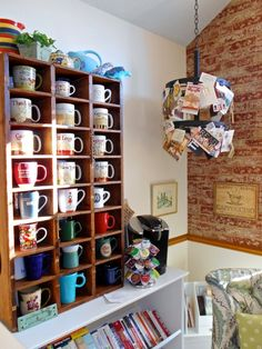 Deborah's Room Made Lovely // neat idea for storing coffee mugs