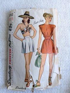 Vintage 1940's Woman's Bra Shorts and Poncho sewing pattern.   Simplicity 2012.   Size 20. Bust size 38.  MISSING Instructions.