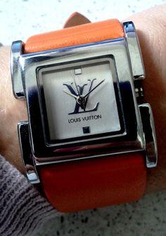 Louis Vuitton watch Louis Vuitton Watches, Louis Vuitton Handbags, Vogue Fashion, Mens Fashion, Pamela, Amazing Watches, Hand Watch, Orange Fashion, Beautiful Handbags