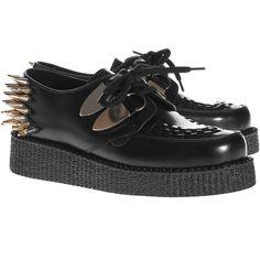 UNDERGROUND Wulfrun Single Sole Black Leather Spikes Studded leather... ($285) ❤ liked on Polyvore