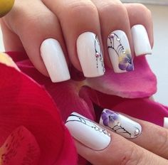 Business nails, Exquisite nails, Floral nails, flower nail art, Flowers patterns on the nails, Nails with rhinestones, Orchid nails, Original nails