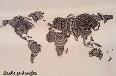 Zentangle mandala map of the world original