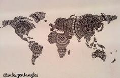 Zentangle mandala map of the world original
