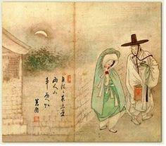 월하정인, 월하밀회, 신윤복, 18~19세기   여인의 풍속을 담은 조선시대 후기의 화가 신윤복의 그림, 월하정인(왼쪽)과 월하밀회(오른쪽)이다. 도덕적으로 의심스럽고 이상해 보이는 커플이 동양에서도 묘사 되었다는 것을 보여준다. 야밤에 몰래 만나고 (왼쪽) 다른 여자와의 밀회를 들키는 (오른쪽) 이런 전형적인 러브스토리는 현대에는 흔할 지라도 당시 유교사상이 팽배한 조선시대라는 점을 고려한다면 이 그림들이 나타내는 바는 매우 선정적이고 문란하다고 볼 수 있다.
