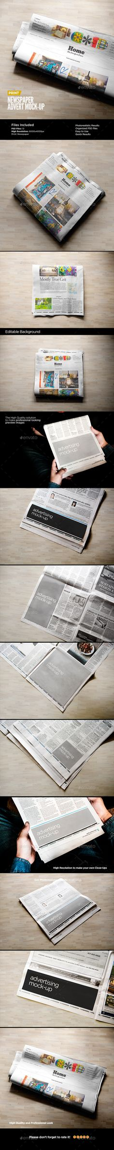 Newspaper Advert MockUp — Photoshop PSD #smart object #psd • Available here → https://graphicriver.net/item/newspaper-advert-mockup/14044517?ref=pxcr