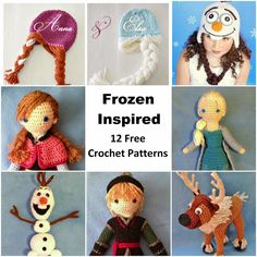 Free Crochet Round-Up: Frozen Inspired - Free Crochet Pattern. Olaf, Anna, Elsa, Sven, and Kristoff.