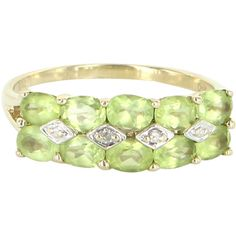 Pre-Owned Double Row Peridot Diamond Vintage 10k Yellow Gold Band ($295) ❤ liked on Polyvore featuring jewelry, rings, yellow gold, peridot ring, multi color diamond ring, tri color gold ring, wide band rings and gold band ring