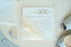 Elegant wedding invitation idea - cream cards with gold calligraphy and lace details {Vanessa Joy Photography}