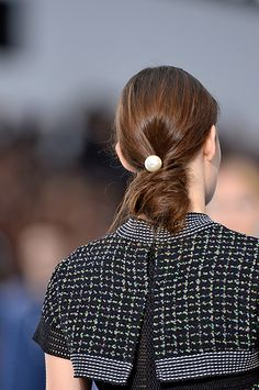 Chanel ss13 hair trends: low chignon with pearl