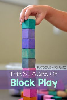 Block play occurs in stages of development. It is an effective way to practice and strengthen fine motor skills. Fine motor skills developed through block play takes place in predictable stages of development. Play Based Learning, Learning Through Play, Early Learning, Block Center, Block Area, Infant Activities, Preschool Activities, Motor Activities, Therapy Activities