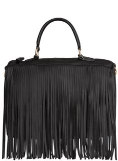 Kardashian Kollection Black Fringe Barrel Bag Kardashians Shoe