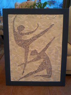 Mosaic ballet dancers, made of broken plates by Iris Bello