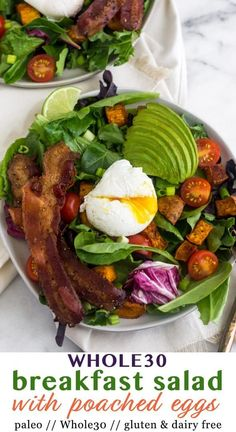 A veggie packed breakfast full of protein and healthy fats to keep you full for hours! This Whole30 Breakfast salad has all your breakfast favorites like roasted potatoes, bacon, and avocado, all topped on some greens with a poached egg! It makes the perfect healthy Whole30, paleo, and gluten free breakfast! - Eat the Gains #paleo #whole30 #breakfastsalad #glutenfree