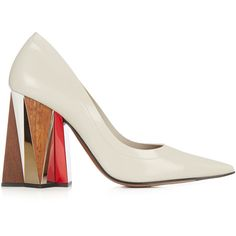 Marni Leather block-heel pumps (€460) ❤ liked on Polyvore featuring shoes, pumps, heels, grey, grey shoes, leather pointed toe pumps, block heel court shoes, chunky heel shoes and gray leather pumps