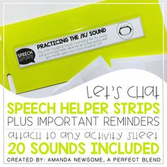 Speech Helper Strips provide prompts for placement and voicing.Visuals for placement are located on each strip. Each strip is designed to fit in the Target adhesive pockets, but can also be easily attached to any activity sheet.