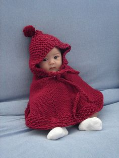 Cutest little red riding-hood by craftycathy over at Ravelry. DROPS design b16-1 Knitted poncho with hood..