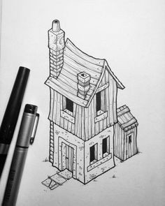 Inktober No.5. Edit: SOLD. For sale: £31 (including U.K. Postage). Message me if you're interested. The fifth of my isometric buildings for this year's #inktober.
